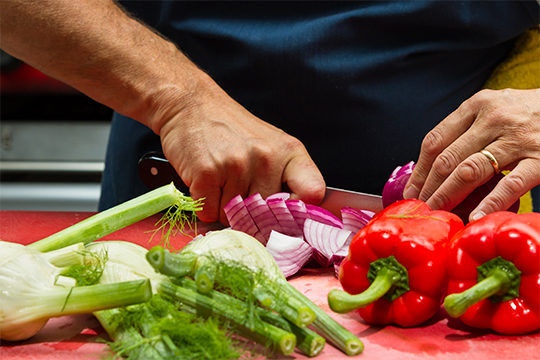 Care worker prepping a meal